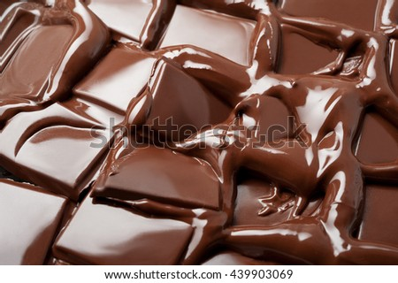 Melted slices of chocolate - stock photo