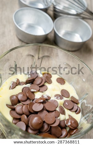 Melting butter and chocolate for chocolate cake in bowl - stock photo