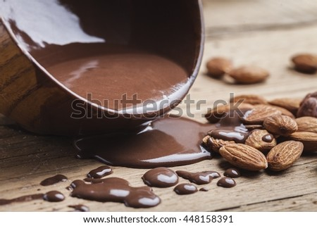Melting chocolate and nuts.