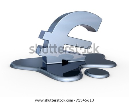 Melting euro sign. Financial problem concept