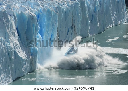 Melting Glacier in a Global Warming Environment - stock photo