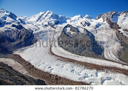 Melting glaciers in the swiss alps - stock photo
