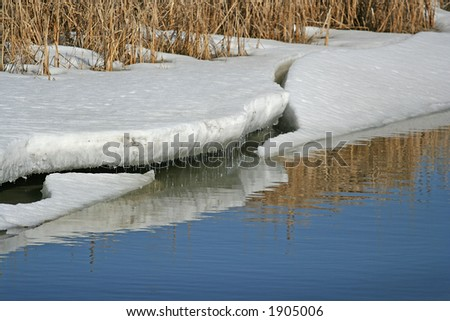 Melting ice at the river - stock photo