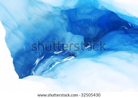 melting ice cave at Fox Glacier, New Zealand - stock photo