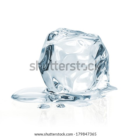 Melting ice cube on white background including clipping path - stock photo