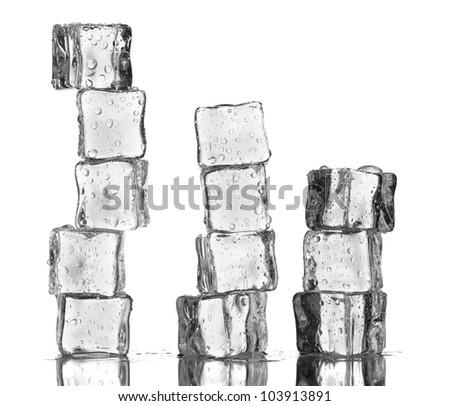 Melting ice cubes isolated on white - stock photo