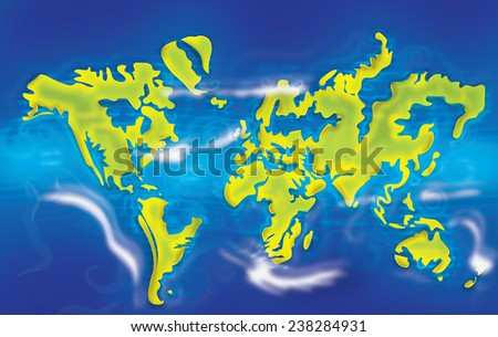 Melting ice glaciers - A flooded map of planet earth. Global warming representation poster.  - stock photo
