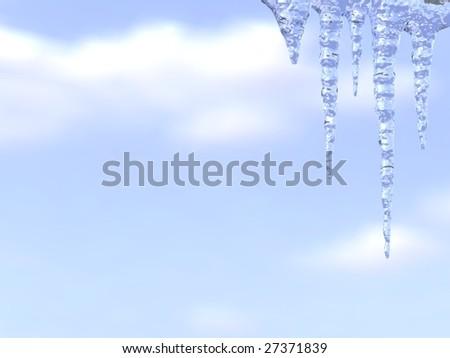 Melting icicles on blue sky background - stock photo