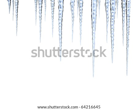 Melting icicles on white background with clipping path - stock photo