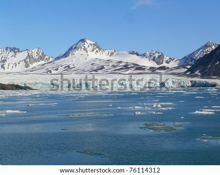 melting of arctic glacier - stock photo