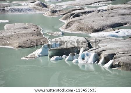 Melting Rhone glacier, Switzerland. View from Furka Pass - stock photo