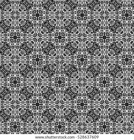 Melting seamless endless abstract black and white sloping kaleidoscopic pattern for background and wallpapers