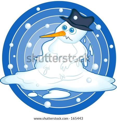melting snowman - stock photo