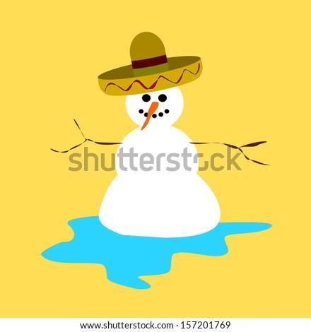 melting snowman wearing sombrero - stock photo