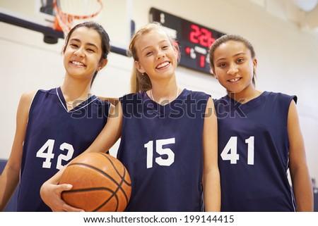Members Of Female High School Basketball Team - stock photo