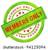members only restricted area vip access membership icon or label in red text isolated on white closed community - stock vector