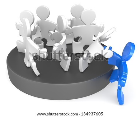 Membership. Puzzle People joining new member. Blue. - stock photo
