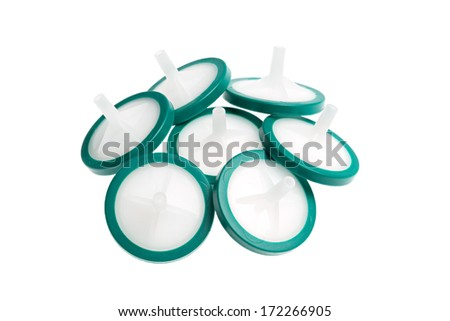Membrane syringe filters isolated on white background. Studio shot. - stock photo