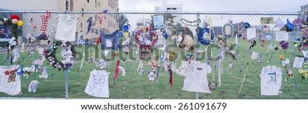 Mementos on chain link fence, memorial to Oklahoma City Federal Building, Bombing, Oklahoma - stock photo