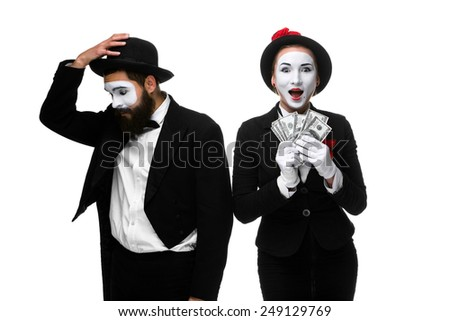 memes as businesswoman and businessman counting money. Isolated on white - stock photo
