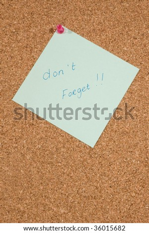 memo board with message: dont forget - stock photo