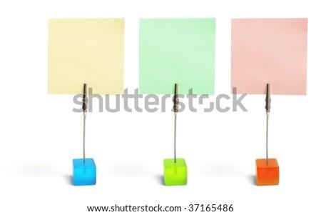 Memo Clip Holders on White Background - stock photo