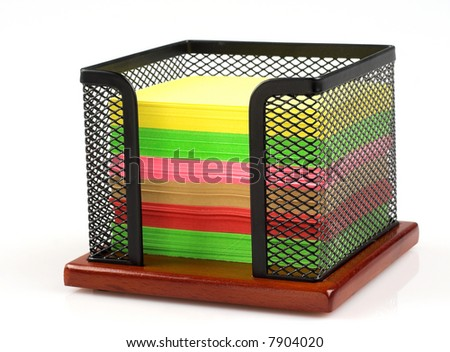 Memo cube stand and color notes isolated - stock photo