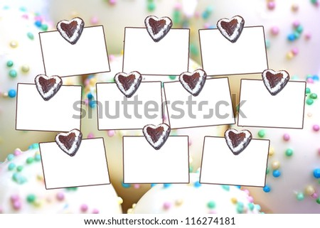 memo for shopping, with copy-space, sweets background - stock photo
