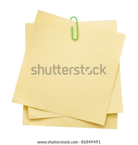 Memo notes with paper clip - stock photo