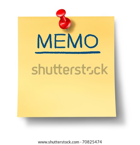 memo reminder yellow office note red thumb tack business symbol communications