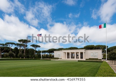 Memorial american cemetery in Nettuno, Itwly, WWII - stock photo