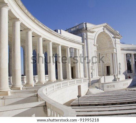 Memorial Amphitheater, Arlington Cemetery Virginia, Near Washington DC - stock photo