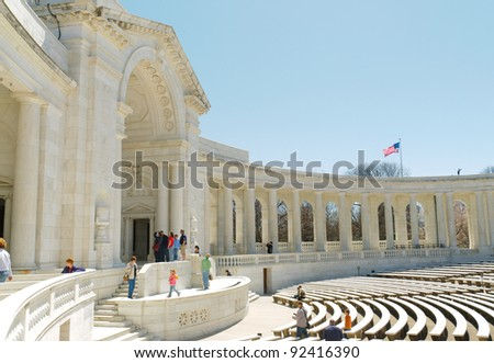 Memorial Amphitheater at Tomb of the Unknowns in Arlington National Cemetery - stock photo