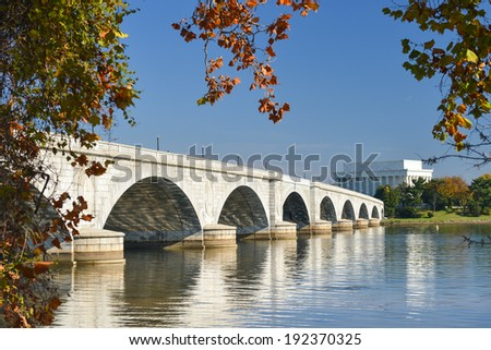 Memorial Bridge and Lincoln Memorial  in Autumn - Washington D.C. United States of America - stock photo