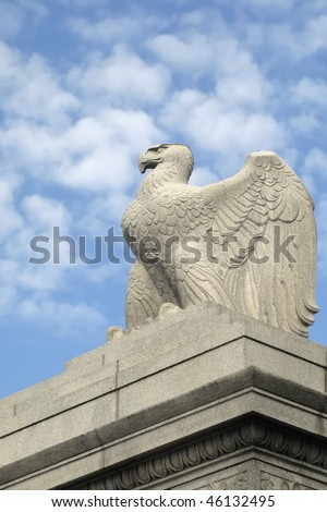 Memorial Bridge Eagle Statue Washington DC Vertical With Copy Space - stock photo