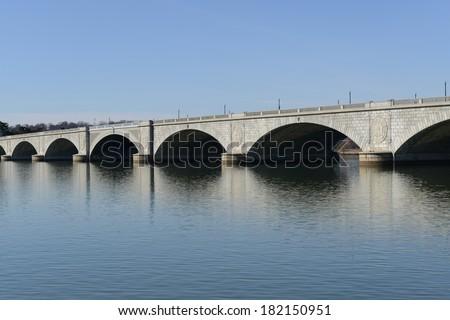 Memorial Bridge in Washington DC - stock photo