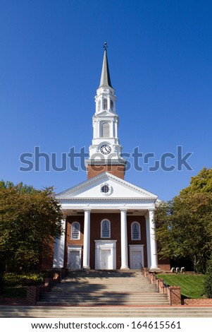 Memorial Chapel on campus of the University of Maryland located in College Park, MD.  - stock photo