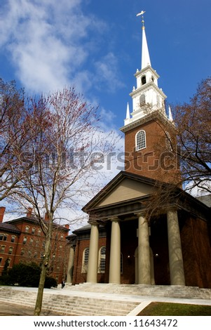 Memorial Church at Harvard University campus in Cambridge, Massachussets - stock photo
