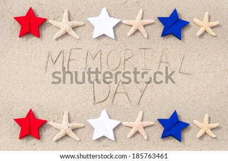 Memorial day background on the sandy beach  - stock photo