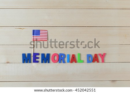Memorial day background on the wood  floor