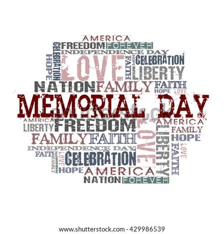 Memorial Day Different Words on white background  - stock photo
