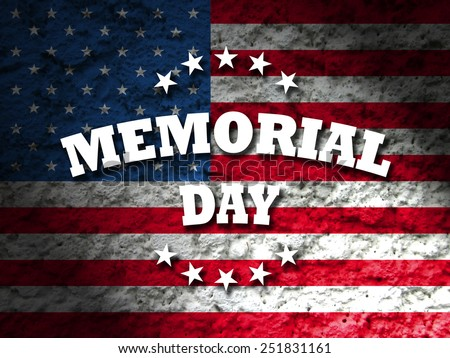 memorial day greeting card american flag grunge background - stock photo