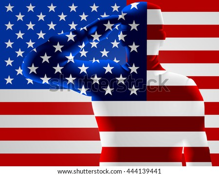 Memorial Day or Veterans Day design of an American Soldier saluting in front of an American flag - stock photo