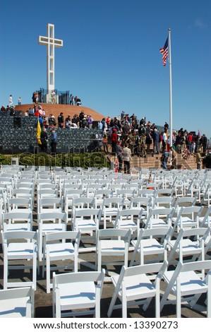 Memorial Day service; Mt Soledad Memorial; San Diego, California - stock photo