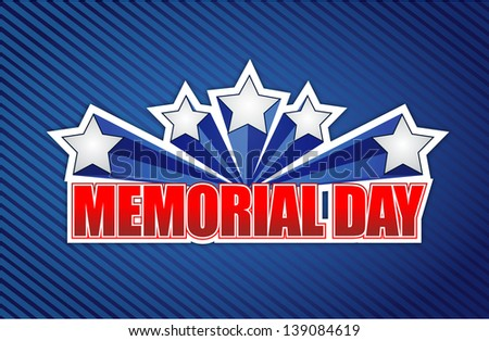 memorial day sign on a blue lines background - stock photo