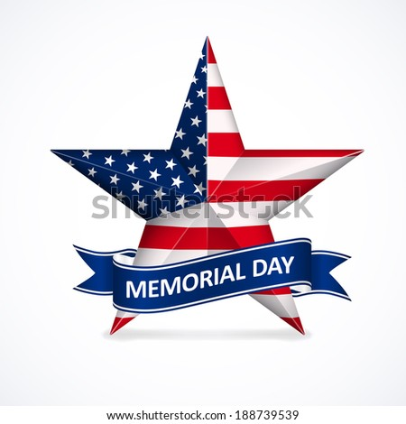Memorial Day with star in national flag colors - stock photo
