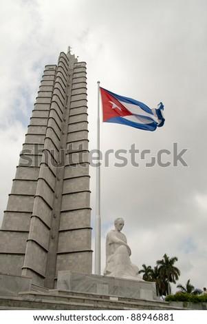 Memorial & flag at Plaza de la revolucion Havana - stock photo