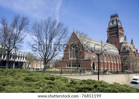 Memorial hall of Harvard university in Cambridge, Massachusetts - stock photo