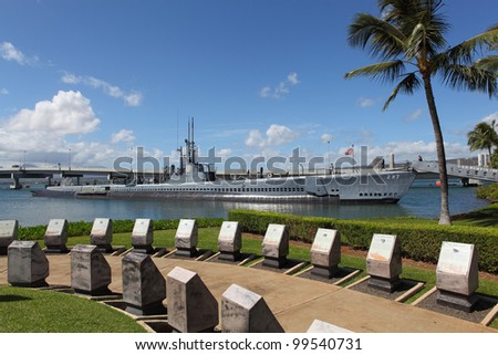 Memorial in Pearl Harbor with submarine USS Bowfin in the background - stock photo
