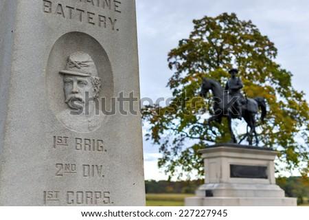 Memorial monument at the Gettysburg National Military Park, Pennsylvania. - stock photo